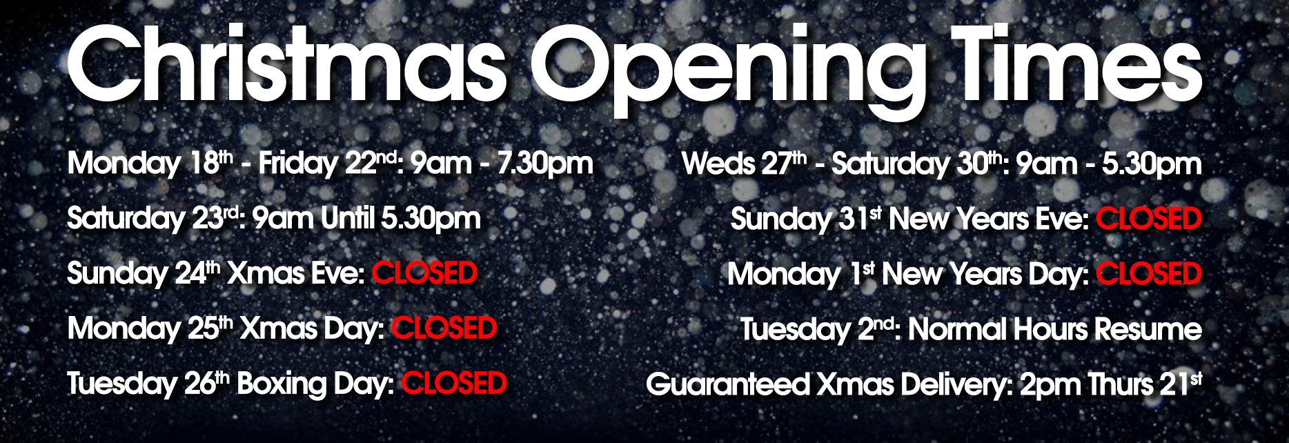 Christmas Opening Times!